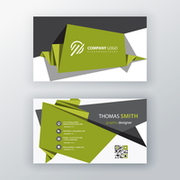 green origami business card design