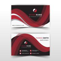 visit card with red wavy detailed