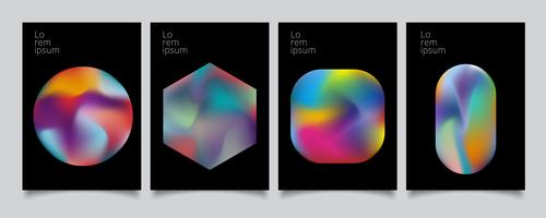 Abstract geometric modern colorful gradient shapes composition cover set design.