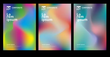 Abstract modern colorful gradient shapes composition cover set design.