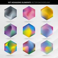 Abstract collection label and tab hexagon multicolor background. vector