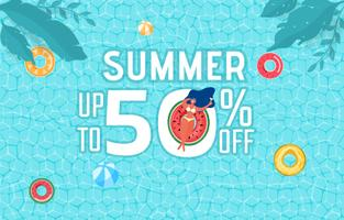 Top view of summer pool party. Summer time hot sale advertising design with girl on rubber ring in swimming pool.