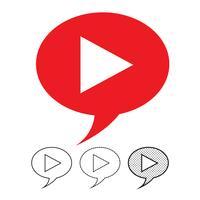 button video player icon vector