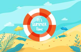 Summer holiday with beach scene sea view inside rubber ring.
