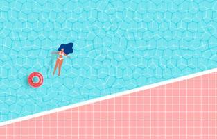 Vista superior de la fiesta en la piscina de verano. Diseño caliente de la publicidad de la venta del tiempo de verano con la muchacha en el anillo de goma en piscina.
