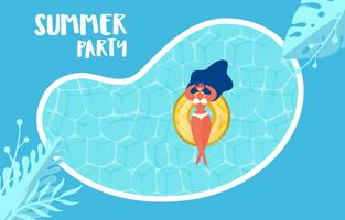 Vue de dessus de la fête de la piscine d'été. Conception de publicité vente chaude heure d'été avec la fille sur l'anneau en caoutchouc dans la piscine.