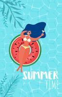 Vista superior de la fiesta en la piscina de verano. Diseño caliente de la publicidad de la venta del tiempo de verano con la muchacha en el anillo de goma en piscina