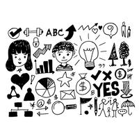 hand draw business doodles icon vector