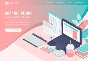 Vector Isometric Graphic Design Landing Page