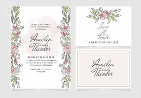 Vector Watercolor Roses Wedding Invitation