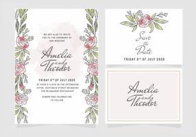 Rosas em aquarela de vetor, convite de casamento