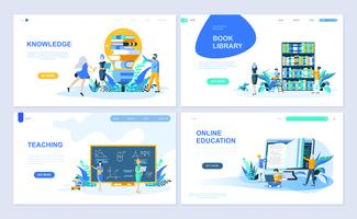 Set of landing page template for Education, Knowledge, Book Library, Teaching. Modern vector illustration flat concepts decorated people character for website and mobile website development.