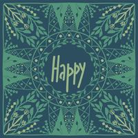 Scandinavian folk art pattern with  flowers and text Happy