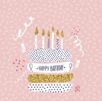 happy birthday greeting cards design with cake and candles