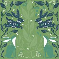 Scandinavian folk art pattern with bannies and flowers  seamless