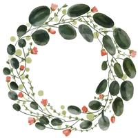 watercolor flowers pattern wreath