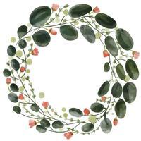 watercolor flowers pattern wreath