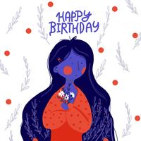 Flat fashion girl long hair greeting card Happe birthday vector illustration