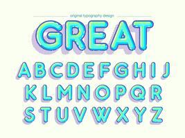 Hellblaue gerundete Comic-Typografie