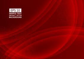 Rote Farbwellenzusammenfassungs-Hintergrundtechnologie modern, Vektor-Illustration