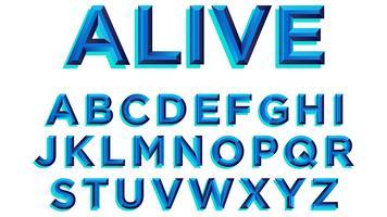 Fet Blå Typografi
