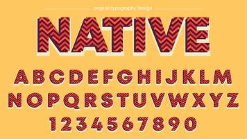 Rote Zickzack-Streifen-Typografie