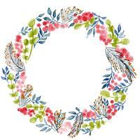 watercolor flowers pattern wreath hand drawn