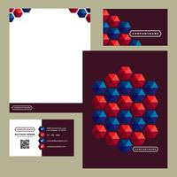Colorful Red Blue Hexagon Business Stationery Template