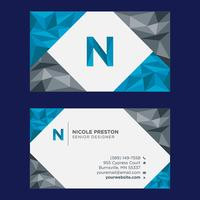 Blue Grey Low Poly Business Card