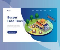 Gente que come la comida en ilustraciones isométricas de un camión de la comida de la hamburguesa.