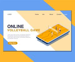 Kids Playing Online Volley Ball Game Isometric Artwork Concept.