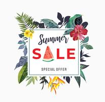 summer sale sign with tropical flower illustration