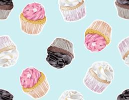 kopp tårta sömlös mönster illustration