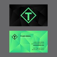 Black Green Low Poly Business Card Template