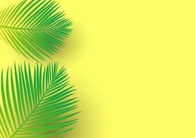 Palmeira deixa em um fundo amarelo brilhante