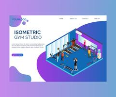 People Exercising in a Gym Studio Isometric Artwork Concept.