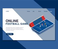 Kids Playing Online Foot ball Game Isometric Artwork Concept.