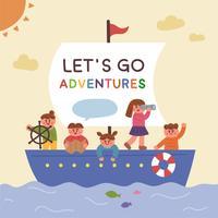 Süße Kinder, die auf ein Boot gestiegen sind und es erkundet haben.