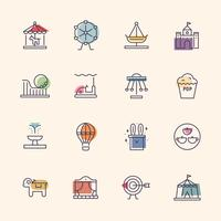 amusement park line icons.