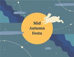 tarjeta de luna llena de otoño