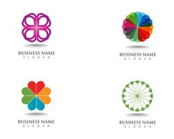 logotipo de padrões florais e símbolos