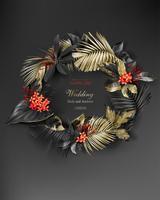 Couronne de feuilles d'or et de noir tropical