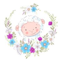 Cartoon illustration of a cute sheep in a wreath of blue and purple flowers. Vector illustration in hand draw