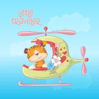 Ilustração dos desenhos animados de um tigre bonito em um helicóptero. Ilustração vetorial