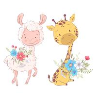 Cartoon illustration of a cute llama and giraffe. Vector illustration