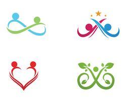 Oneindigheid mensen Adoptie en gemeenschapszorg Logo sjabloon vector pictogram