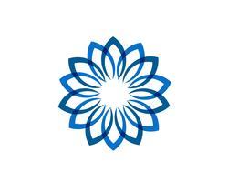 Logo de motifs floraux feuille et symboles sur fond blanc