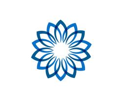 Logo e simboli floreali dei modelli della foglia su un fondo bianco