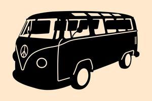 Silueta de minivan hippie