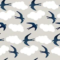 swallow clouds seamles pattern